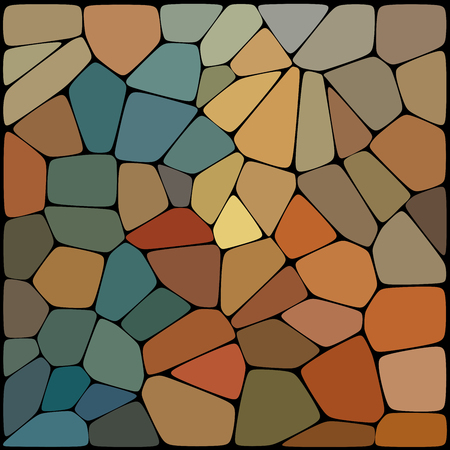 Abstract geometrical multicolored background consisting of geometric elements arranged on a black background. Vector illustration. Brown, blue, beige colors.