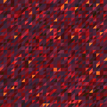 Abstract seamless mosaic background. Triangle geometric background. Vector illustration. Red, orange, purple colors.