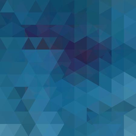Tło wykonane z niebieskich trójkątów. Kwadratowa kompozycja o geometrycznych kształtach. Ilustracje wektorowe