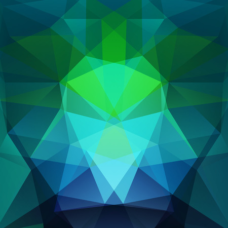 Background made of green, blue triangles. Square composition with geometric shapes.