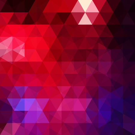 Abstract mosaic background. Triangle geometric background. Design elements. Vector illustration. Red, blue colors.