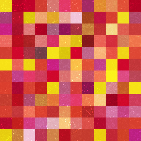 Vintage seamless abstract background with red, yellow, pink squares, vector illustration