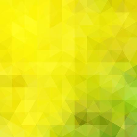 Fond fait de triangles jaunes et verts. Composition carrée aux formes géométriques. Vecteurs