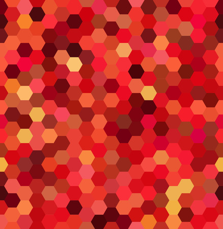 Vector background with red, orange hexagons. Can be used for printing onto fabric and paper or decoration.