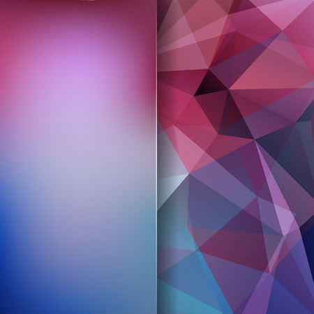 Background of blue, purple geometric shapes. Blur background with glass. Colorful mosaic pattern. Vector illustration