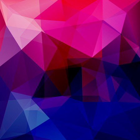 Geometric pattern, polygon triangles vector background in blue, pink tones. Illustration pattern