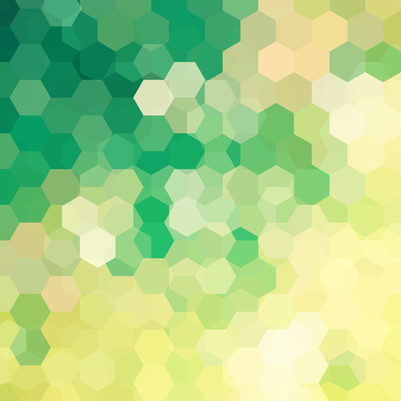 Background of green, yellow geometric shapes. Mosaic pattern. Vector illustration