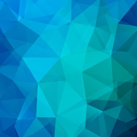 Tło wykonane z niebieskich trójkątów. Kwadratowa kompozycja o geometrycznych kształtach.