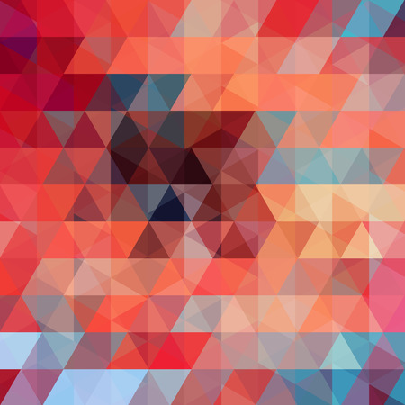 Background made of red, orange, blue triangles. Square composition with geometric shapes.