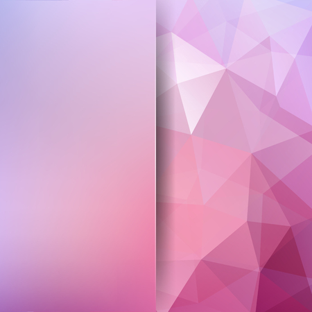 Background made of pastel pink triangles. Square composition with geometric shapes and blur element.