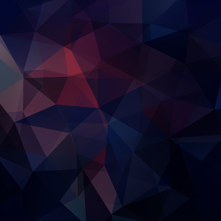 Background made of dark blue, purple triangles. Square composition with geometric shapes.