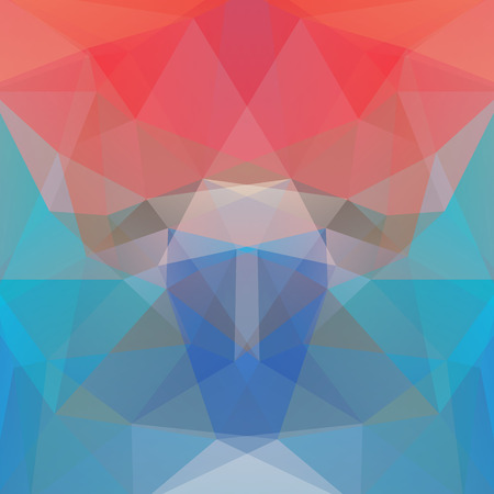 Background made of pink, orange, blue triangles. Square composition with geometric shapes.