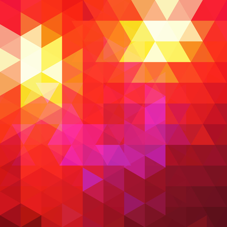 Background of red, pink, yellow geometric shapes. Abstract triangle geometrical background. Mosaic pattern. Vector illustration