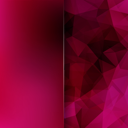 Background of pink, purple geometric shapes. Blur background with glass. Mosaic pattern.  Vector illustration