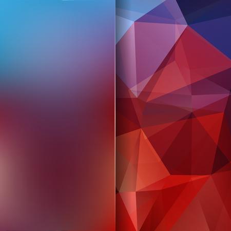 Polygonal vector background. Blur background. Can be used in cover design, book design, website background. Vector illustration. Red, orange, brown, blue colors.