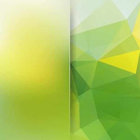 Fondo hecho de triángulos amarillos, verdes. Composición cuadrada con formas geométricas y elemento de desenfoque.