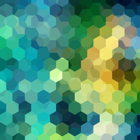 Abstract background consisting of green, blue, yellow hexagons. Geometric design for business presentations or web template banner flyer. Vector illustration Ilustracja