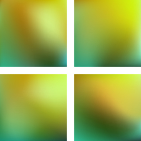 Set with green abstract blurred backgrounds. Vector illustration. Modern geometrical backdrop. Abstract template.