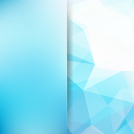 Background of blue, white geometric shapes. Blur background with glass. Colorful mosaic pattern. Vector illustration