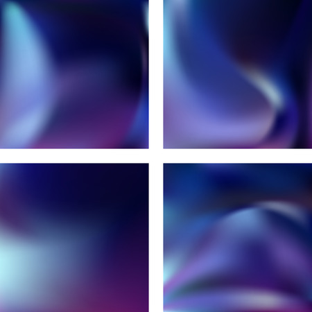 Set with blue abstract blurred backgrounds. Vector illustration. Modern geometrical backdrop. Abstract template. Ilustração
