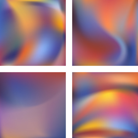 Set with colorful abstract blurred backgrounds. Vector illustration. Modern geometrical backdrop. Abstract template.