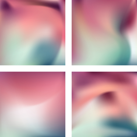 Set with abstract blurred backgrounds. Vector illustration. Modern geometrical backdrop. Abstract template. Pink, white, blue colors