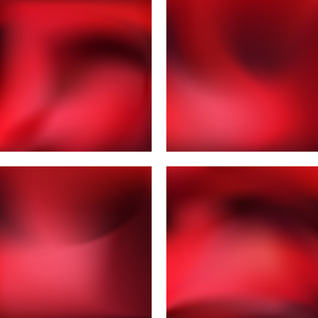 Set with red abstract blurred backgrounds. Vector illustration. Modern geometrical backdrop. Abstract template.