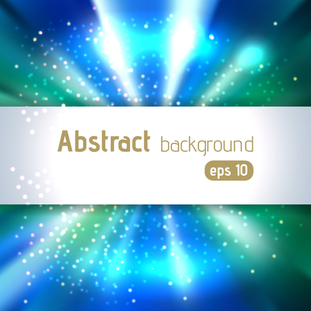 Vector illustration of abstract background with blurred magic light rays, vector illustration. Blue, green, white colors.