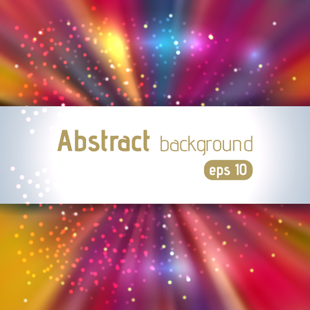 Colorful rays background with place for text. Abstract motion blur background with power explosion. Vector illustration
