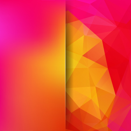 Geometric pattern, polygon triangles vector background in pink, yellow tones. Blur background with glass. Illustration pattern Illustration