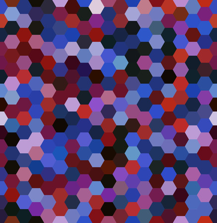 Vector background with blue, purple, red hexagons. Can be used for printing onto fabric and paper or decoration.