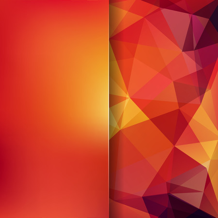 Background made of red, orange triangles. Square composition with geometric shapes and blur element.