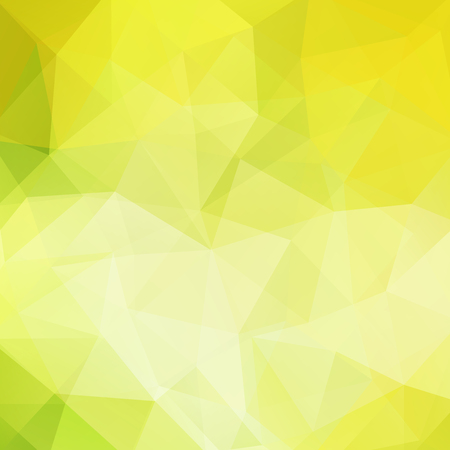 Background made of yellow, green triangles. Square composition with geometric shapes.