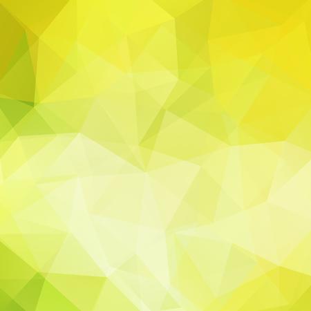 Tło wykonane z żółtych, zielonych trójkątów. Kwadratowa kompozycja o geometrycznych kształtach.