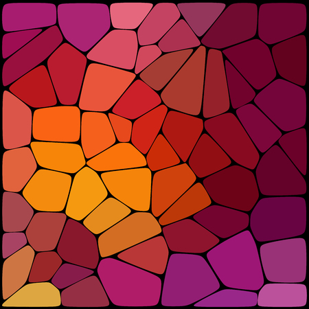 Abstract background consisting of black lines with rounded edges of different sizes and red, pink, purple, yellow geometrical shapes. Vector illustration.