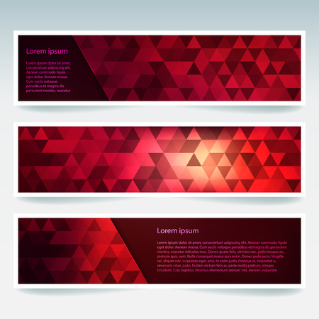 Horizontal banners set with polygonal triangles. Polygon background, vector illustration. Red, purple colors.