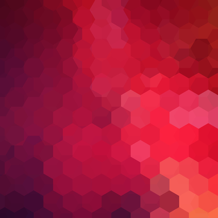 Background made of red, pink, purple hexagons. Square composition with geometric shapes. Eps 10 Vector Illustration