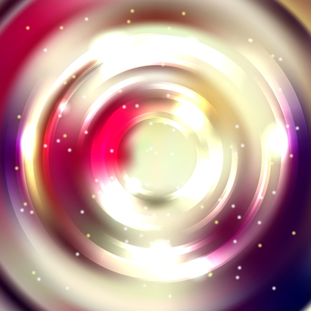 Abstract background with luminous swirling backdrop. Vector infinite round tunnel of shining flares. Pink, purple, white colors.