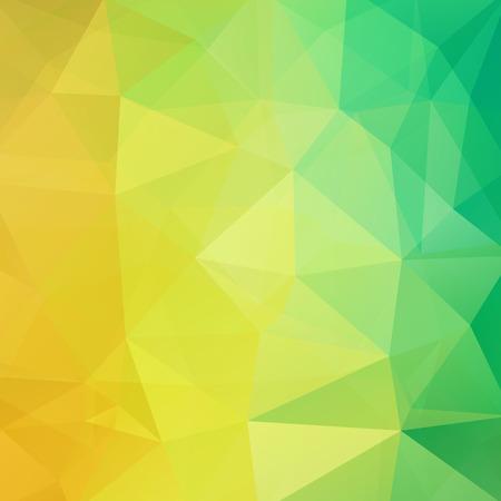 노란색, 녹색 삼각형으로 만든 배경입니다. 기하학적 모양이 있는 정사각형 구성입니다.