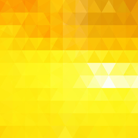 Background of yellow, orange geometric shapes. Abstract triangle geometrical background. Mosaic pattern. Vector illustration