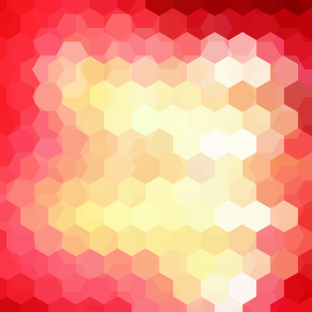 Geometric pattern, vector background with hexagons in yellow, pink, red tones. Illustration pattern
