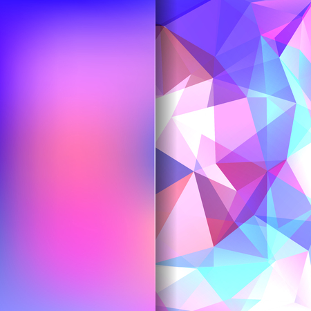 Polygonal vector background. Blur background. Can be used in cover design, book design, website background. Vector illustration. Pink, white, blue colors.