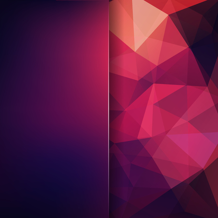 Background of pink, purple geometric shapes. Blur background with glass. Colorful mosaic pattern. Vector illustration