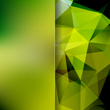 Background of green geometric shapes. Blur background with glass. Colorful mosaic pattern. Vector illustration