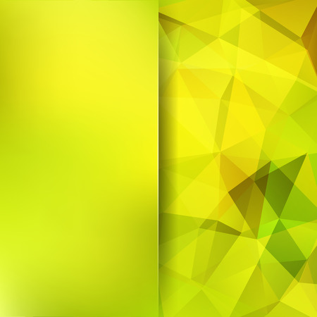 Abstract geometric style background. Yellow, green colors. Blur background with glass. Vector illustration Illustration