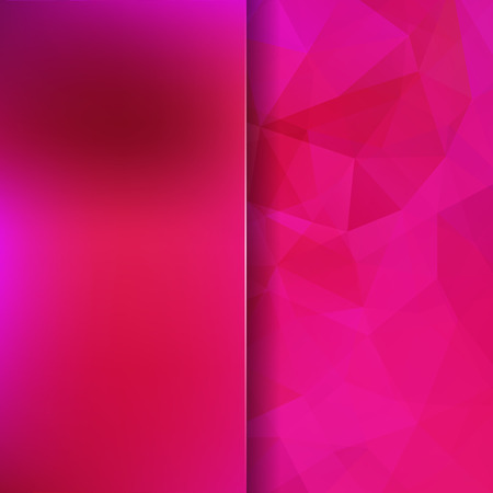 Background made of pink triangles. Square composition with geometric shapes and blur element.