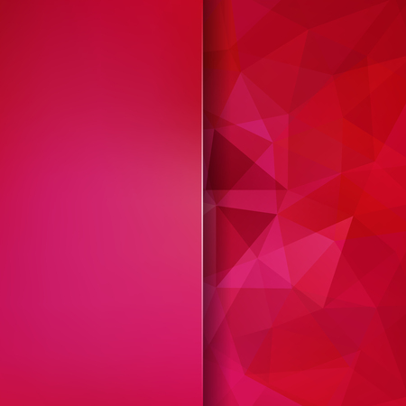Background made of red, pink triangles. Square composition with geometric shapes and blur element.