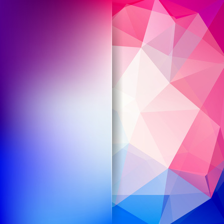 Geometric pattern, polygon triangles vector background in blue, pink, white tones. Blur background with glass. Illustration pattern Illustration