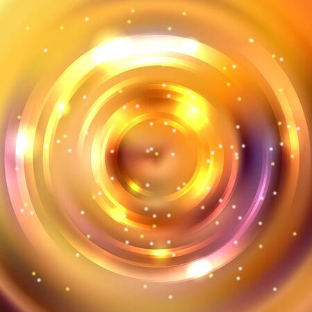 Abstract background with luminous swirling backdrop. Vector infinite round tunnel of shining flares. Yellow, orange colors.