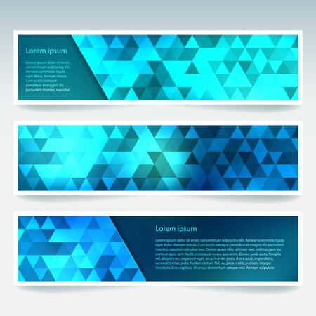 Set of banner templates with blue abstract background. Modern vector banners with polygonal background
